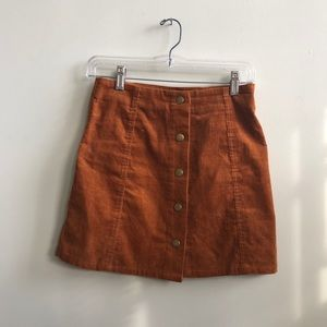 TopShop corduroy button down skirt